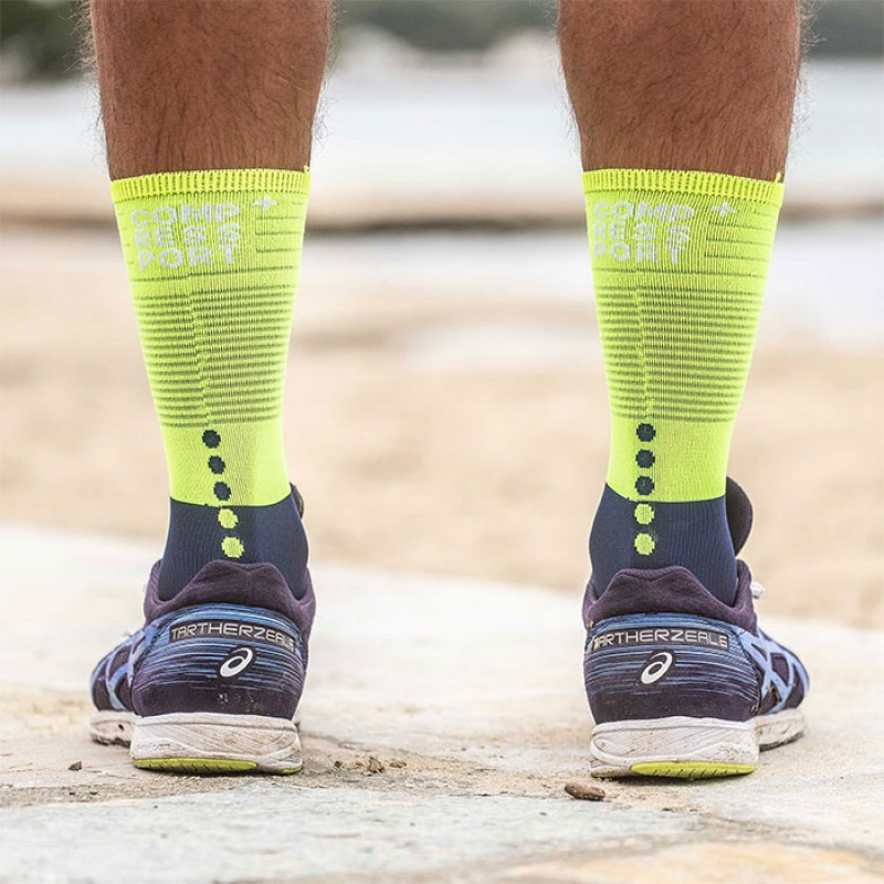 MID COMPRESSION SOCKS BLUE/LIME