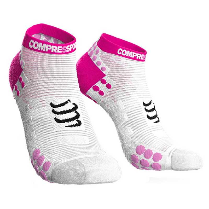 SOCKS RACING SOCKS V3.0 RUN LOW WHITE/PINK