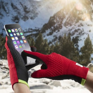 3D THERMO SEAMLESS RUNNING GLOVES RED/BLK