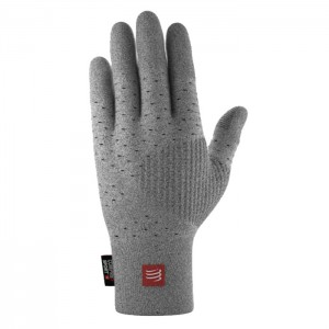 3D THERMO SEAMLESS RUNNING GLOVES GREY