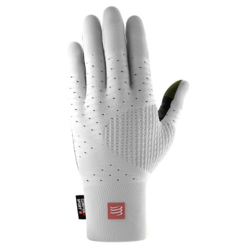 3D THERMO SEAMLESS RUNNING GLOVES WHITE/BLK
