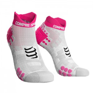 MEIAS RACING SOCKS V3.0 RUNNING LOW BRANCO/ROSA