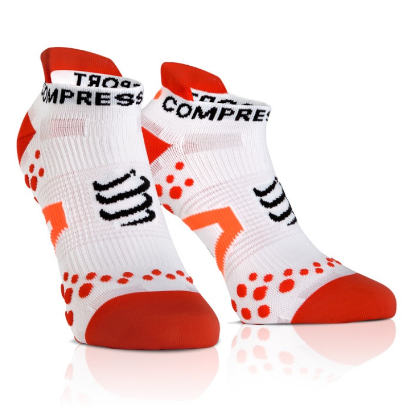 MEIAS PRO RACING V2.1 RUN LOW CUT WHITE/RED