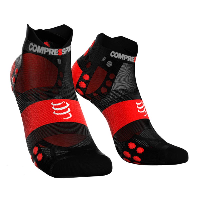 MEIAS RACING SOCKS V3.0 ULTRALIGHT RUNNING LOW PRETO/VERMELHO