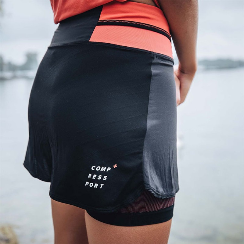 PERFORMANCE SKIRT W BLK/CORAL