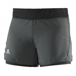 PARK 2in1 SHORT W GALET GREY/BLACK