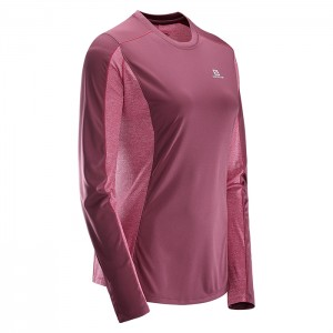 AGILE LS TEE W FIG/BEET RED