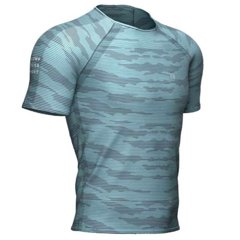 TRAINING SS TSHIRT CAMO STRIPE NILE BLUE