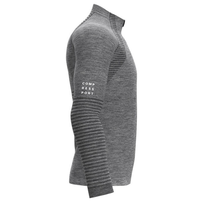 SEAMLESS ZIP SWEATSHIRT GREY MELANGE